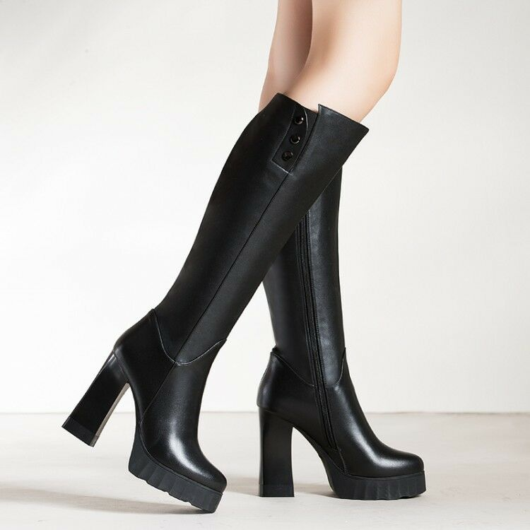 Quality Women's Knee High Boots Real Leather Round Toe Chunky Chunky Chunky Heels shoes Woman ef35ab