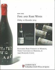 CHRISTIE'S WINES Masseto Madeira 1990 Romanee-Conti Auction Catalog 2014
