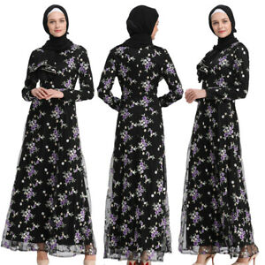 Elegant-Muslim-Women-Flower-Net-Yarn-Cocktail-Maxi-Dress-Abaya-Lace-Long-Robe