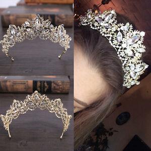Braut-Barock-Luxus-Kristall-AB-Braut-Krone-Tiaras-Licht-Gold-Diadem-Tiara-T-E8K0