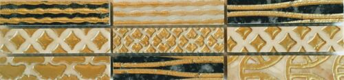 Brown and Gold Polished Mosaic Beige Latina Mix