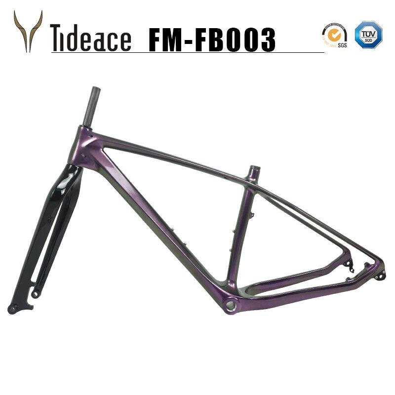 Camaleón púrpuraa de fibra de carbono bicicleta de grasa 26er horquilla para bicicleta de nieve Marco Negro Brillante