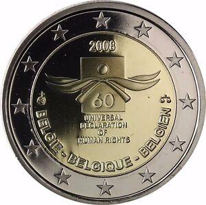 Belgien 2 Euro Münze 60 Jahre Menschenrechte 2008 Pp Gedenkmünze Im