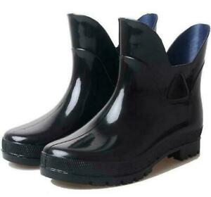 men's short rain boots rubber high heel waterproof non