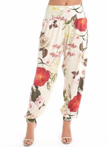 Ladies Floral Leaf Print Harem Ali Baba Pants Womens Cuffed Trouser Pants 8-22