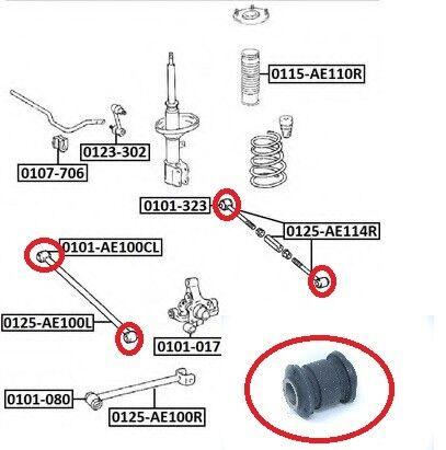 2001 Toyota Corolla Rear Lateral Rod Arm Bushing OEM 48730-12370 RR RL