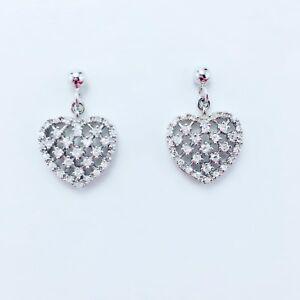 Genuine-925-Sterling-Silver-CZ-Love-Heart-Fillgree-Dangle-Stud-Earrings-RRP-108