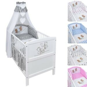 babybett kinderbett juniorbett wippe wei 140x70 bettw sche bettset komplett ebay. Black Bedroom Furniture Sets. Home Design Ideas