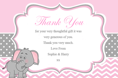 50 Personalised Thank You Cards Baby Shower pink Gifts Birthdays Ect Ref BST3