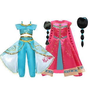 UK Kids Aladdin Costume Girls Princess Jasmine Outfit Sequin Party Fancy Dress
