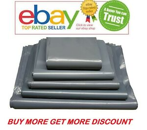 """200 BAGS 9/"""" x 12/"""" STRONG POLY MAILING POSTAGE POSTAL 55MU QUALITY SELF SEAL GREY"""