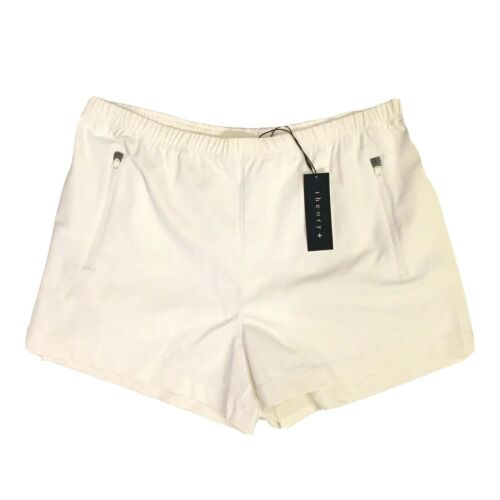 Womens Atom Zipper Rewarded Athletic Gym Dry Shorts White MSRP $140 THEORY