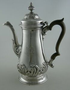 Sterling-John-Swift-1756-Georges-II-floral-chased-amp-Peacock-crest-coffee-pot