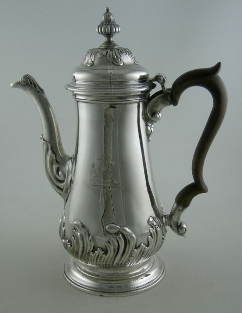 Sterling John Swift (1756) Georges II  floral chased & Peacock crest coffee pot
