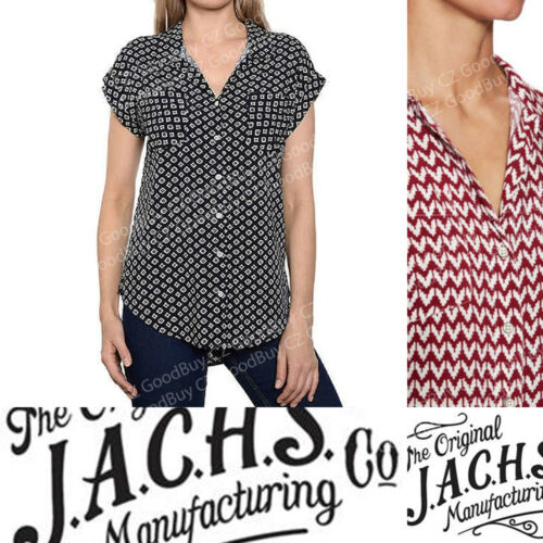Women/'s JACHS Girlfriend Women Button Down BLOUSE Top Cap Sleeve