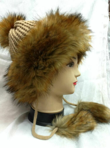 New Women Winter Warm Elegant Faux Fur Knit thick Beanie Hat PomPom Ball Ski Cap
