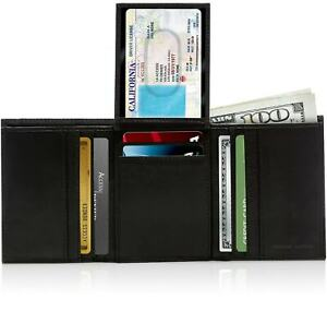 Genuine-Leather-Wallets-For-Men-Trifold-Wallet-With-Flip-Up-ID-RFID-Blocking