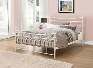 Emily 120cm 4ft Small Double Cream Ivory Metal Bed Frame Bedstead