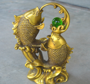 Chinese Antiques Brass Casting Squid Play Beads Statue G Ebay