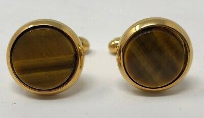 Vintage Tigers Eye 10K Gold Cufflinks Cylinder Scroll Open Work Design With Swivel Toggle Bar Classic Jewelry Gift For Men 10K Gold Overlay