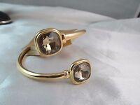 Monet Gold & Gold Crystal Social Wrap Design Bangle Bracelet, Stunning