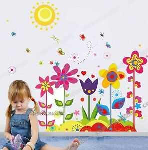 Large-Colorful-Flower-Butterfly-Sun-Wall-Stickers-Mural-Wallpaper-Decal-Girls