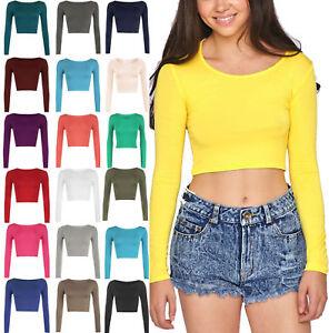 New-Womens-Crop-Top-Long-Sleeve-T-Shirt-Girls-Ladies-Scoop-Crew-Neck-Vest-Tee