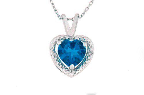1 Carat London Blue Topaz /& Diamond Heart Pendant .925 Sterling Silver