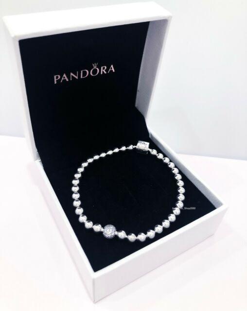 PANDORA Beads & Pave Two Tone Size 7 Inches Bracelet 598342cz19