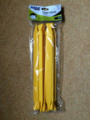 5x Big Large Size Tent Pegs Plastic Heavy Duty 300mm Yellow Awning Peg Stakes