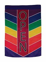 In The Breeze Open Rainbow Chevron Lustre House Banner, New, Free Shipping on sale