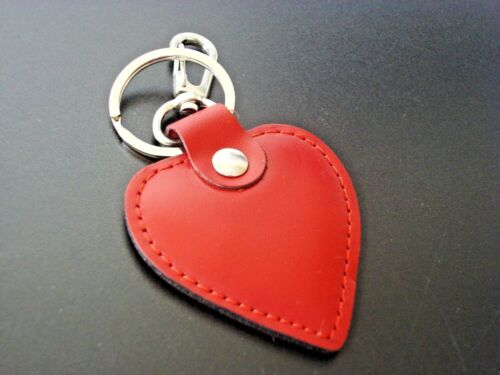 Fabulous Love Heart Leather Charm Keyring Keychain Fob Red Bag Pendant