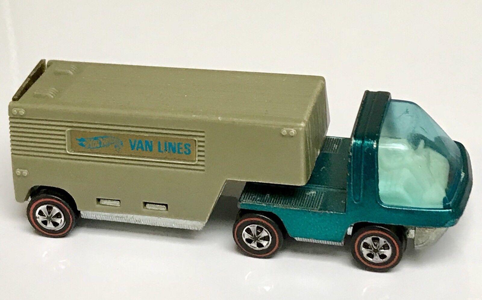 Hot Wheels Redline Aqua Heavyweights Moving Van Lines White Interior!