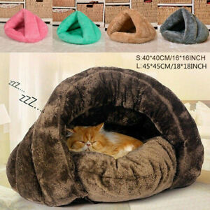 Pet-Cat-Dog-House-Kennel-Puppy-Sleeping-Cave-Bed-Fleece-Soft-Mat-Pad-Warm-Nest