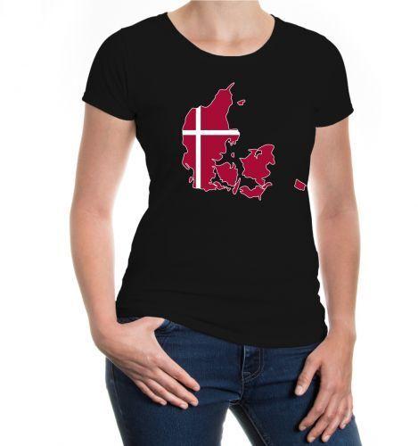 Damen Kurzarm Girlie T-Shirt Dänemark-Shape Danmark Flagge flag Urlaub Landkarte