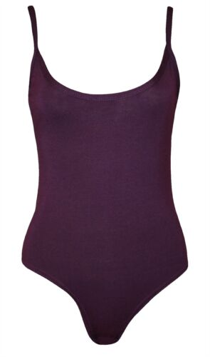 Womens Plain Sleeveless Strappy Camisole Bodysuit Ladies Dance Wear Leotard Top