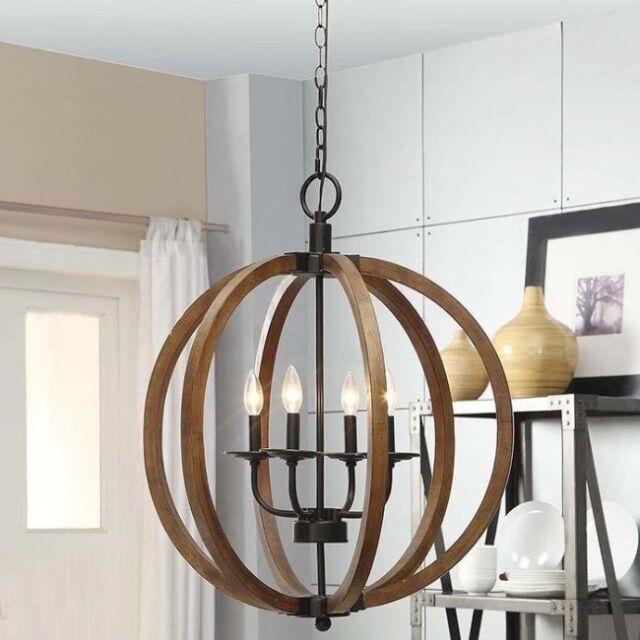 Wooden Orb 4 Light Chandelier Rustic Sphere Globe Kitchen