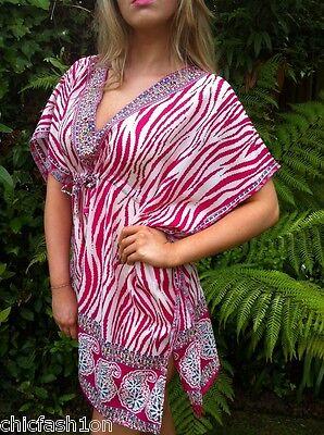 Pink Zebra Tunic Kaftan Poncho Batwing Cool Dress or Shirt & UK Seller