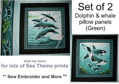 Fish Dolphin whales Sea cotton quilting fabric pillow panel - *Choose design