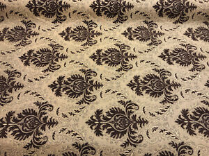 Sabrina-Dark-Brown-Gold-Damask-Fabric-Chenille-Upholstery-Fabric-by-the-yard