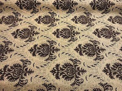 Sabrina Dark Brown Gold Damask Fabric