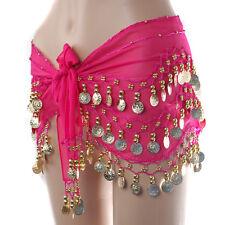 Women Dancer Dress Sexy Belly Dance Hip Belt Skirt Wrap w/128 Gold Coins NEW