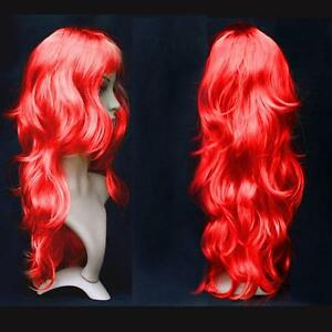 Women-Long-Curly-Wavy-Wig-Cosplay-Costume-Party-Fancy-Dress-Red-UK