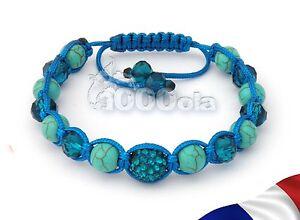 BRACELET STYLE Tibétain Perles Disco Strass Cristal+HÉMATITE+pierre Turquoise