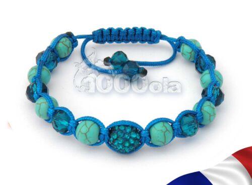 BRACELET SHAMBALLA Perles Disco Strass Cristal+HÉMATITE+pierre Turquoise 1000ola