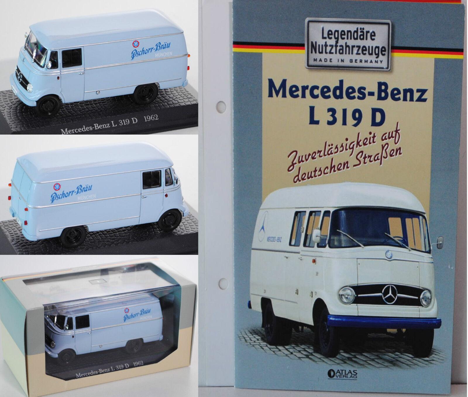 Atlas 7421105 mercedes benz l 319 d kastenwagen, pschorr br ä u   m ü nchen 1 43 ovp