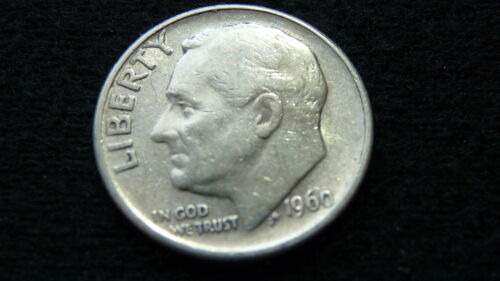 1960-P ROOSEVELT SILVER DIME IN EXTRA FINE CONDITION A-12 SEE PICTURES