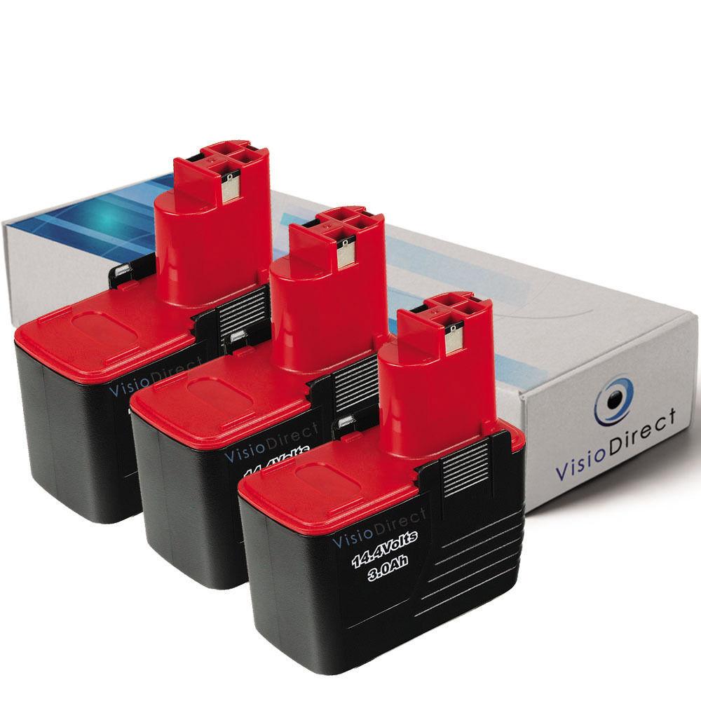 Lot de 3 batteries 14.4V 3000mAh pour BOSCH GSR 14,4 VES2  - Société Française -