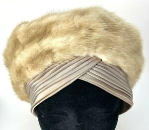 Vintage-Deborah-Mink-Hat-Palomino-Champagne-Blonde-Beige-Old-Hollywood-Glamour