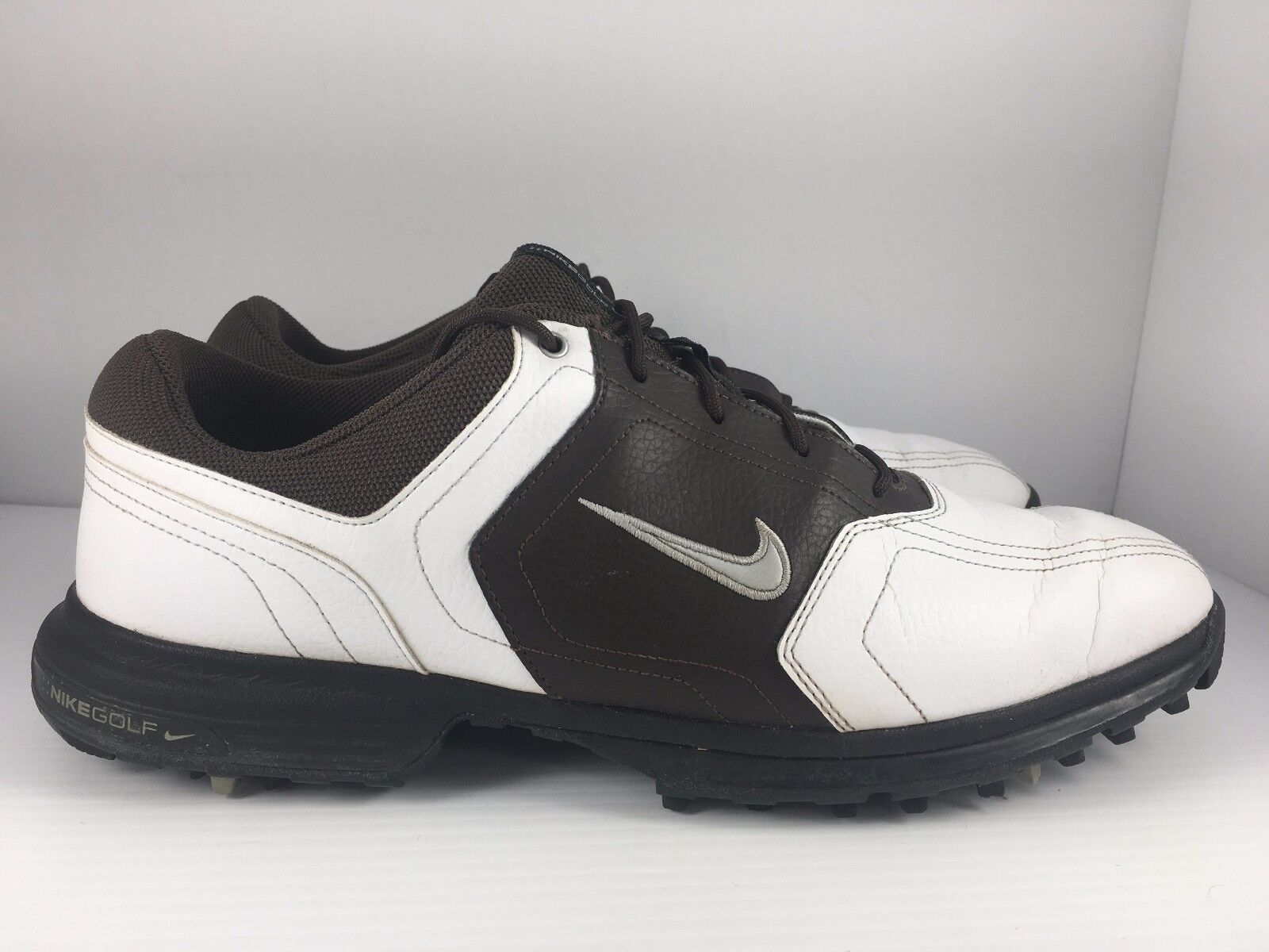 NIKE Golf Men US 10 White + Brown Leather Saddle Golf Cleats 336040-102 Comfortable and good-looking